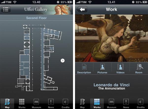 immagini uffizi applicazione iphone