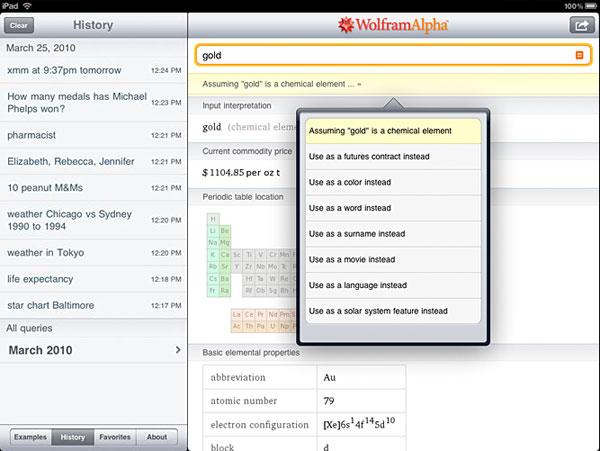WoframAlpha iPad